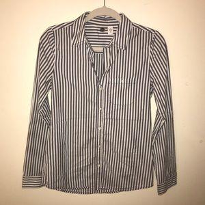 Blue & White Pinstripe Button Down Work Shirt